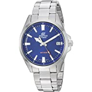 Men's Edifice Quartz Watch with Stainless-Steel Strap, Silver, 19.5 (Model: EFV-100D-2AVCR)