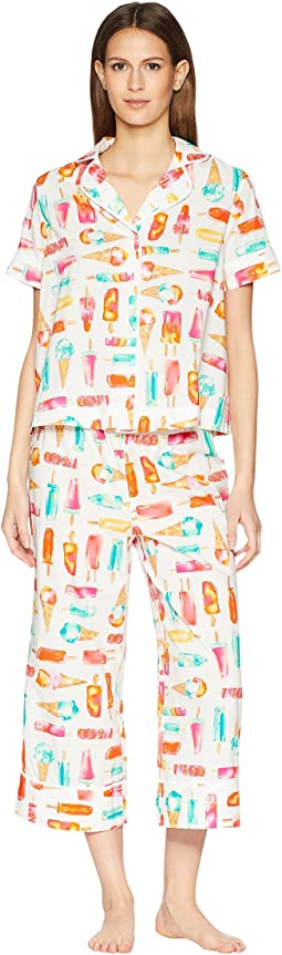 Ice Cream Print Cropped Pajama Set
