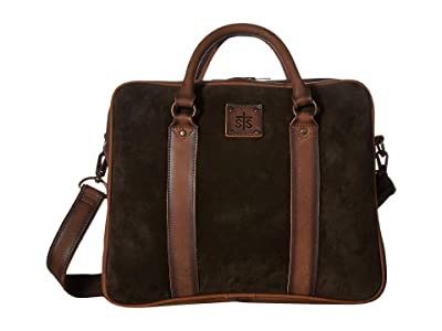 STS Ranchwear Heritage Satchel Briefcase (Chocolate Suede/Tornado Brown) Briefcase Bags