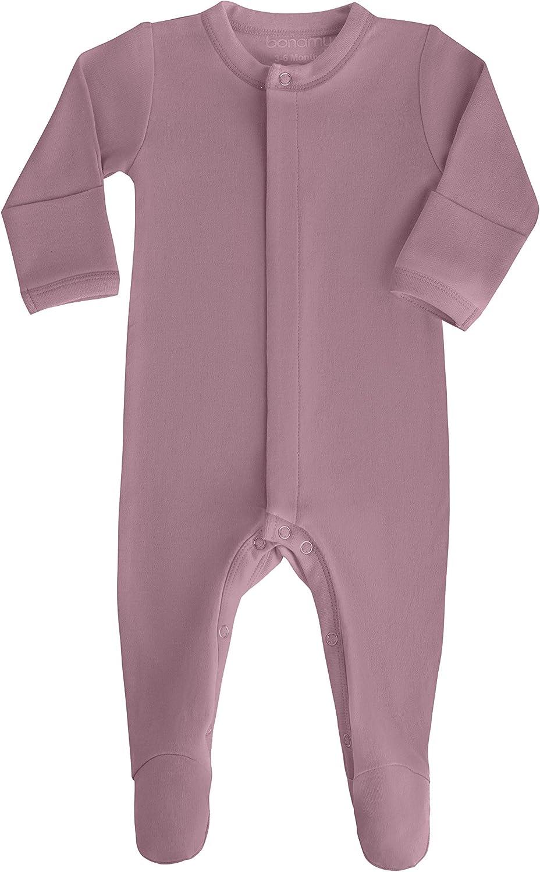 bonamy Baby Boy Girl Organic Cotton Footed Sleeper with Mittens-Sleep n Play
