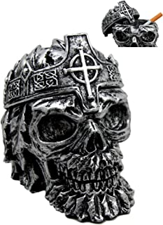 Atlantic Collectibles Crowned Greenman King Skull Decorative Cigarette Ashtray Figurine With Lid 4.25