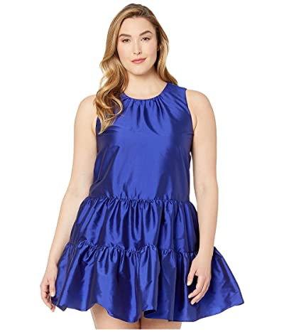 Calvin Klein Tiered A-Line Taffeta Dress (Ultramarine) Women