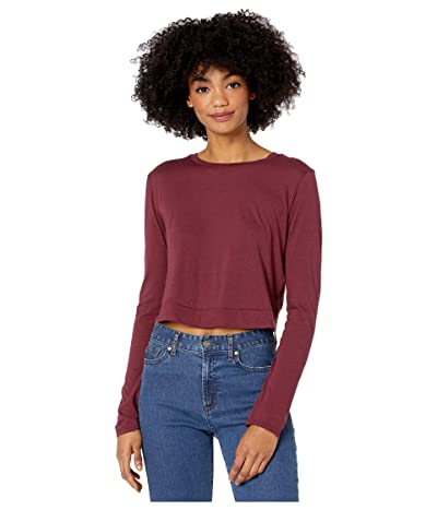 Beyond Yoga Back Out Reversible Cropped Pullover (Team Burgundy) Women