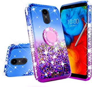 LG Stylo 4 / Stylo 4 Plus Case Liquid Glitter Cute Phone Case Kickstand Clear Bling Diamond Bumper Ring Stand Girls Women Shock Proof Cover Cases for LG Stylo 4/Stylo 4 Plus (Purple/Blue)