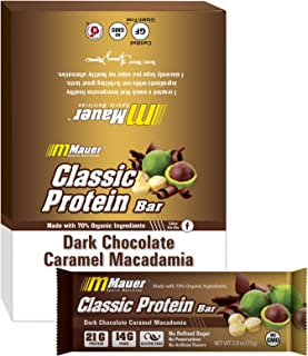 Mauer Sports Nutrition Classic Protein Bars, Dark Chocolate Covered Caramel Macadamia,2.6Oz, 12 Count