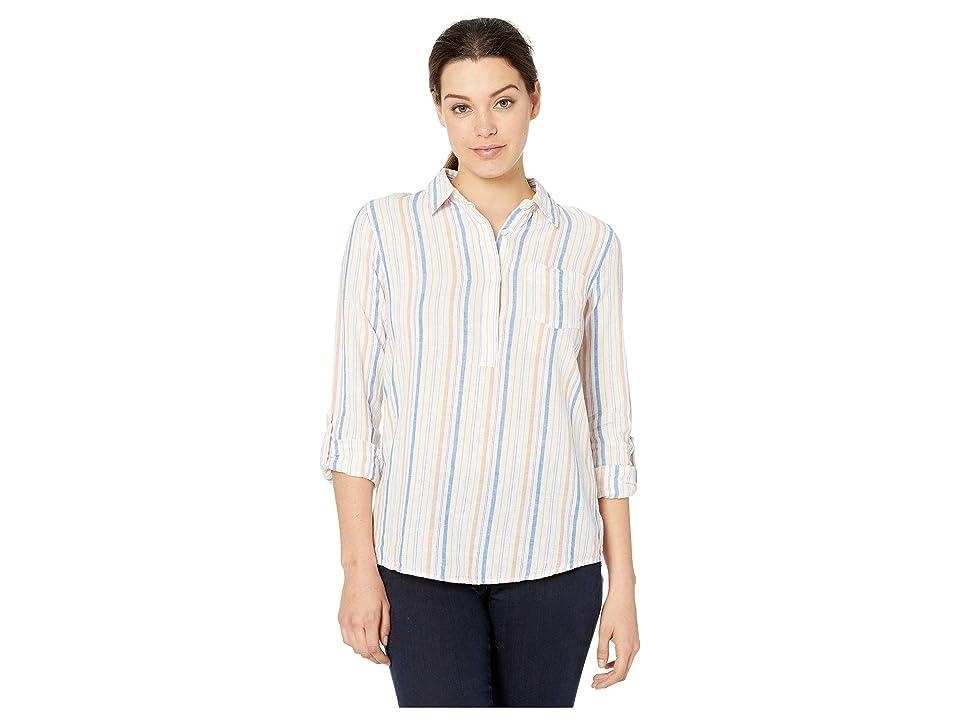Image of ALEXANDER JORDAN Linen/Cotton Popover Stripe 3/4 Roll Tab Sleeve (Multi Stripe) Women's Clothing