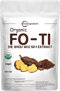 Maximum Strength Organic Fo Ti 50:1 Extract Powder (He Shou Wu), 6 Ounce, Pure Foti Supplement, Traditional Anti Aging Her...