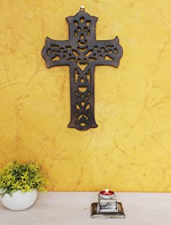 The StoreKing Christmas Day Sale Gift Wooden Wall Hanging French Cross 12 Inches with Celtic Hand Carvings Religious Cross Home Living Room Decor (Design5)
