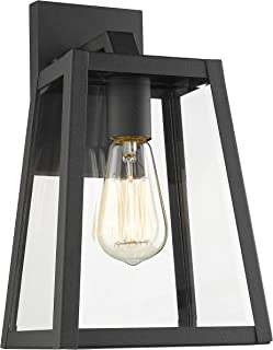 Emliviar Outdoor Wall Lantern, 1-Light Exterior Wall Light, Black Finish with Clear Bevel Glass, 12