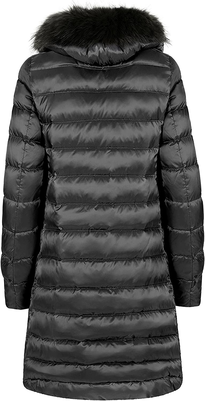 SOVENTUS FASHION Damen Winterjacke Jacke mit Echtfell DAUNEN Wintermantel Fell Echtpelz Anthrazit