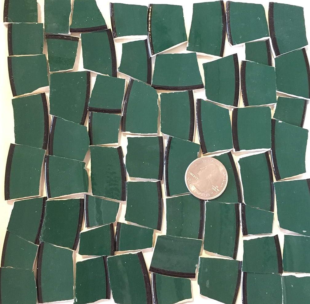 Mosaic Art & Crafts Supply ~ Dark Teal Green Rim Tiles (B313)