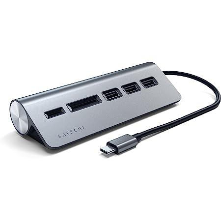 SATECHI Hub USB Tipo-C in Alluminio e Lettore Schede Micro/SD per iMac, MacBook PRO, dell Serie XPS, Lenovo Yoga e Altri (Grigio siderale)