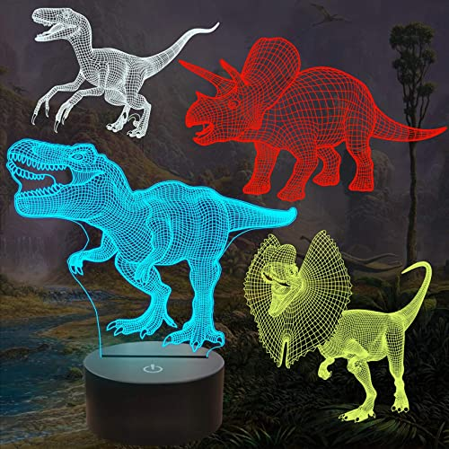 FULLOSUN Dinosaur Bedside Lamp, 3D Hologram Illusion Night Light for Kids (4 Patterns) with Remote Control 16 Colors ...