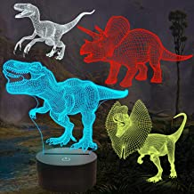 FULLOSUN Dinosaur Bedside Lamp, 3D Hologram Illusion Night Light for Kids (4 Patterns) with Remote Control 16 Colors Chang...