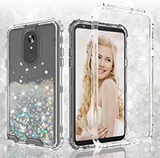 Coverlab Cases for LG Stylo 5 Case, LG Stylo 5 Plus Case, Hard Clear Glitter Sparkle Flowing Liquid Heavy Duty Shockproof Three Layer Protective Bling Cases for LG Stylo 5/LG Stylo 5 Plus - Clear