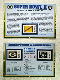 Super Bowl II (1968) - Official NFL Super Bowl Stamp Collection - 2 Pieces / 3 Stamps - Green Bay Packers vs Oakland Raiders - Bart Starr MVP