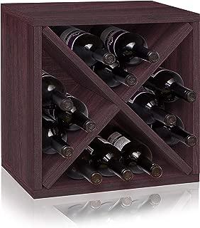 Way Basics Stackable 12-Bottle Tabletop Wine Rack Cube Storage, Espresso
