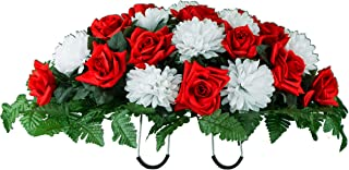 Sympathy Silks Artificial Cemetery Flowers Saddle-Arrangement - Red Rose & White Mums Silk Fake Flowers for Outdoor Grave-Decorations - Non-Bleed Colors, Easy Fit