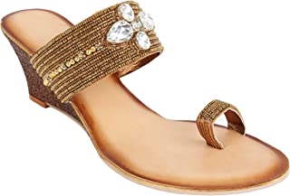 Catwalk Women's Crystal Detail Toe Ring Wedges