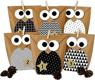 Papierdrachen DIY Advent Calendar - Christmas Owls Black and White – Advent Calendar for Making and Filling