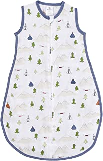 Amazing Baby Muslin Sleeping Sack, Outdoor Adventure with Denim Trim, Small, Wearable Blanket with 2-way Zipper