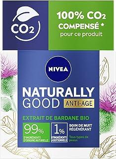 NIVEA NATURALLY GOOD Soin de Nuit Anti-âge à l'Extrait de Bardane Bio & Huile d'Argan Bio 50 ml, crème hydratante tous typ...