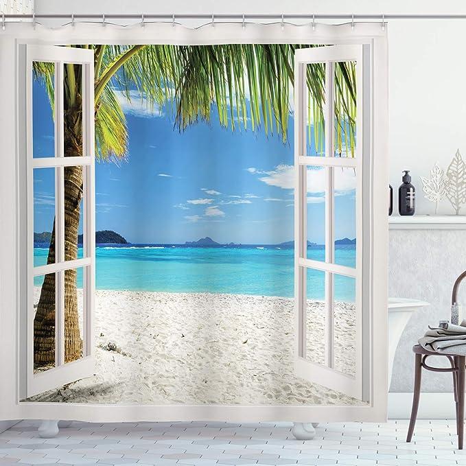 Summer Island Beach Palm Trees Wood Window Waterproof Fabric Shower Curtain Set