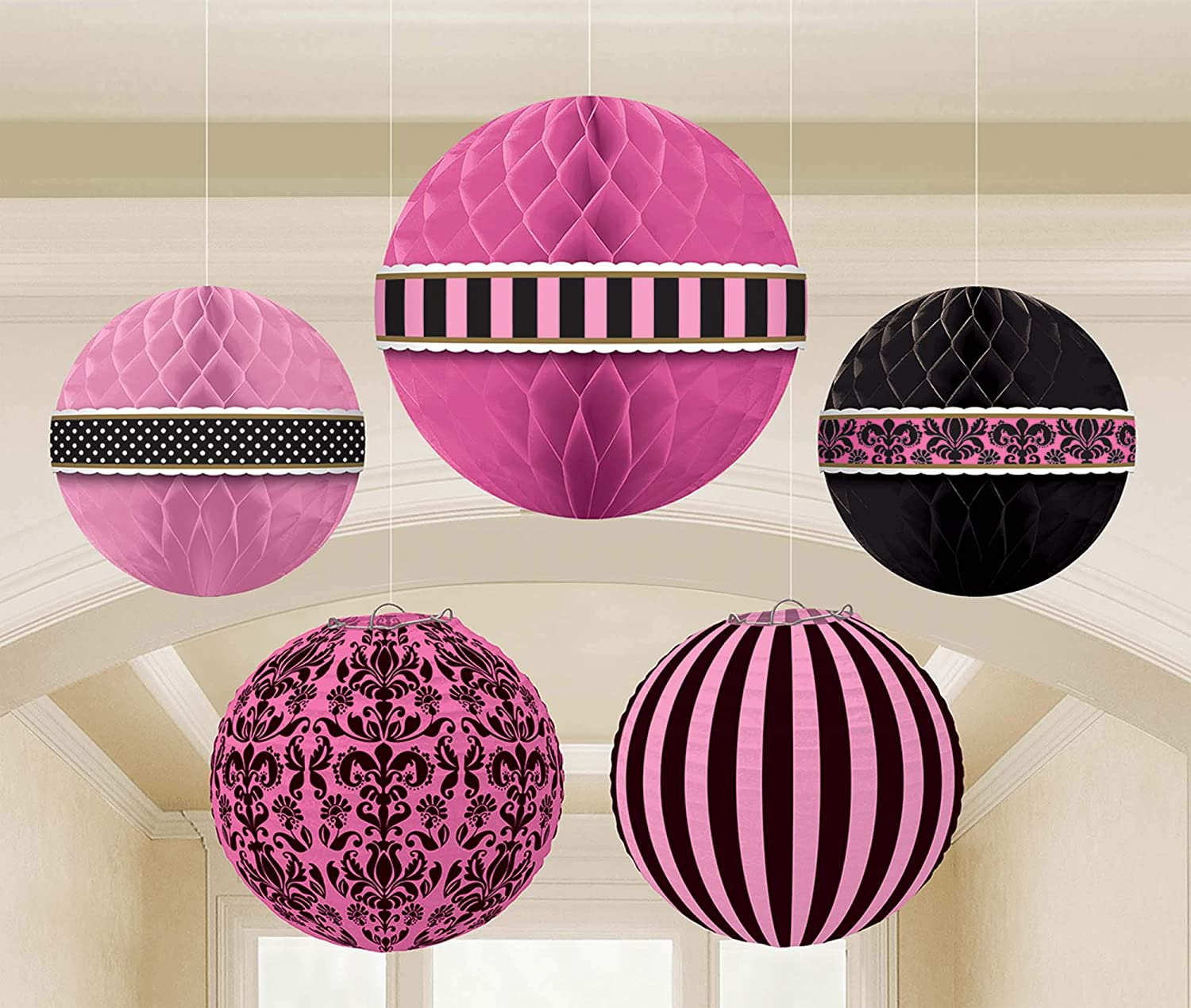 Shipping included Parisian Glamor Hanging Translated Party Decorations 5 - pcs
