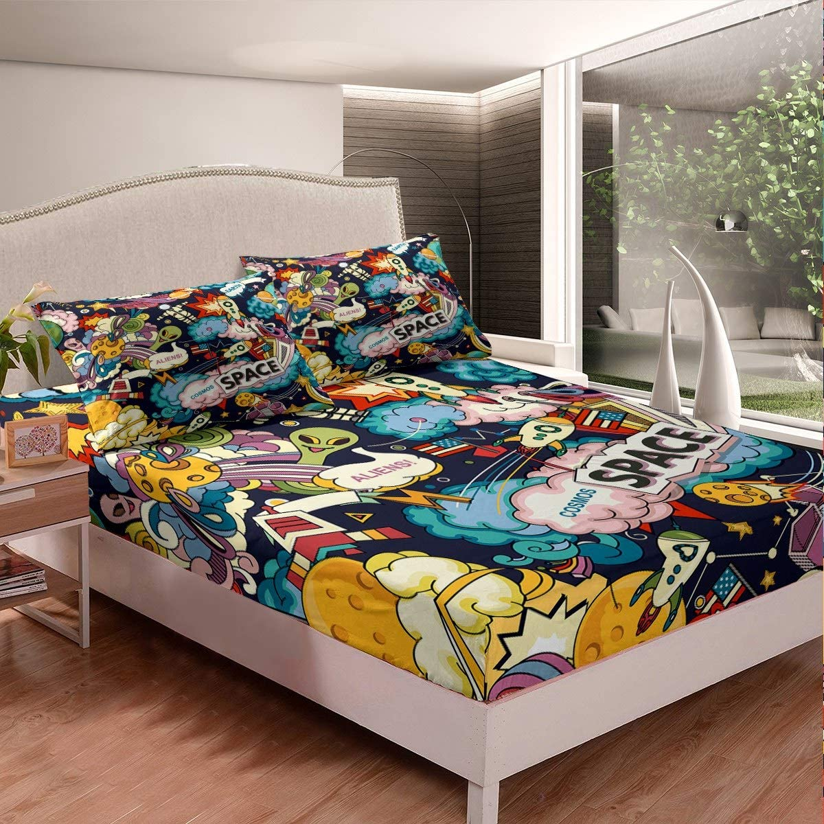Cartoon Planet Fitted Sheet Outer Space Bed Earth Lowest price challenge C Now on sale Sheets Alien