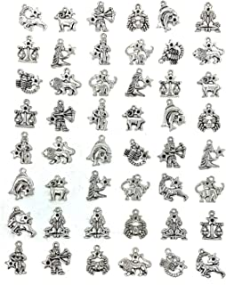Zodiac Sign Charms Constellation Pendants Beads DIY for Necklace Bracelet Jewelry Making and Crafting, JIALEEY 4 Sets 48 PCS Antique Brass Silver Vintage Style