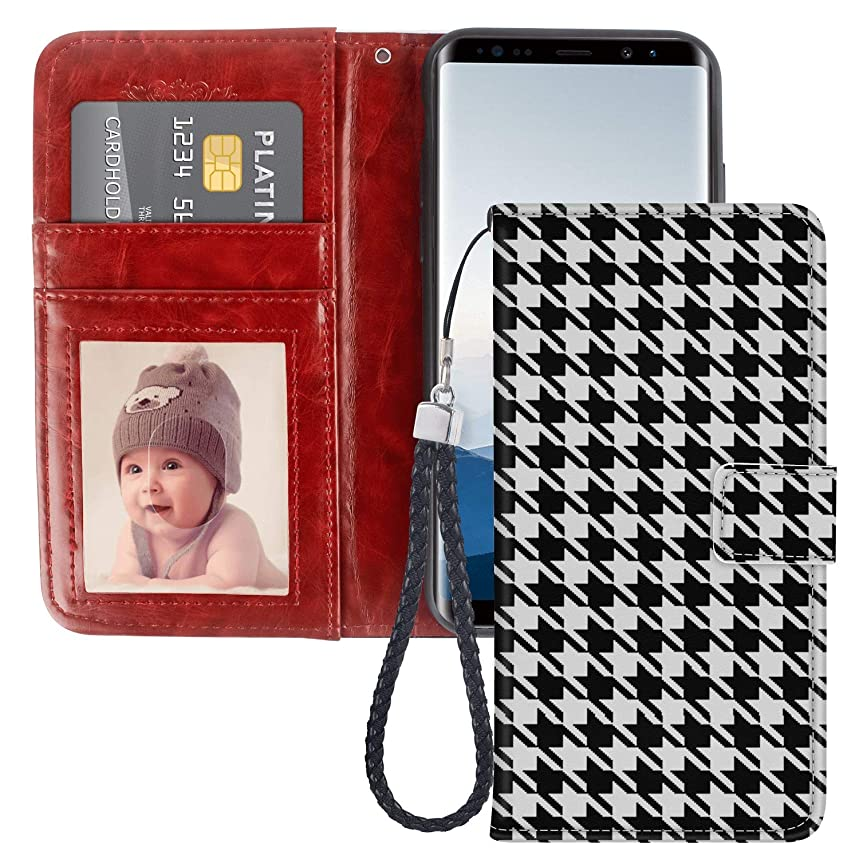 Houndstooth Samsung Galaxy Note 8 Wallet Case for Kickstand PU Leather Card Slot Magnetic Flip Wristlet Phone Cover Samsung Galaxy Note 8 Case Houndstooth