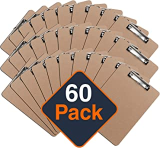 Clipboards (Set of 60) by Office Solutions Direct! ECO Friendly Hardboard Clipboard Pack, Low Profile Clip Standard A4 Letter Size, Classroom Supplies