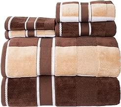 Lavish Home 100% Cotton Oakville Velour 6 Piece Towel Set-Chocolate