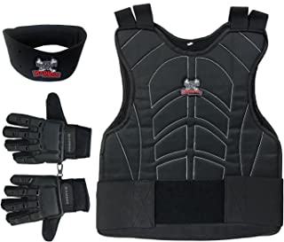 MAddog Sports Padded Chest Protector, Full Finger Tactical Gloves, Neck Protector Combo Package