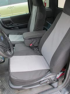 Durafit Seat Covers Made to fit 2004-2005 Ford Ranger Pickup 60/40 Split Bench Seat Custom Seat Covers,with Opening Console. Black/Gray Automotive Twill