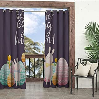 Balcony Waterproof Curtains Happy Easter Day Easter Egg Hunt Rabbits 9 doorways Grommets Decor Curtain 72 by 96 inch