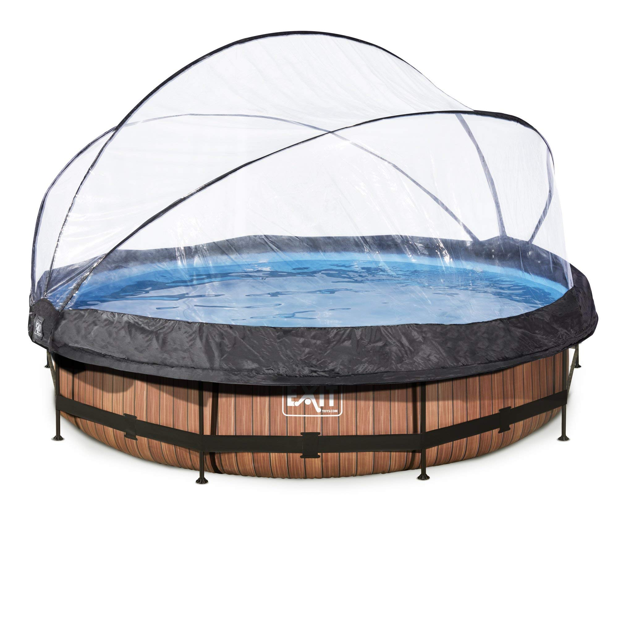 EXIT Wood Pool ø360x76cm with Dome and Filter Pump - Brown - Piscina (Piscina con Anillo Hinchable, Círculo, 6125 L, Marrón, Child & Adult, 5 Personas(s)): Amazon.es: Juguetes y juegos