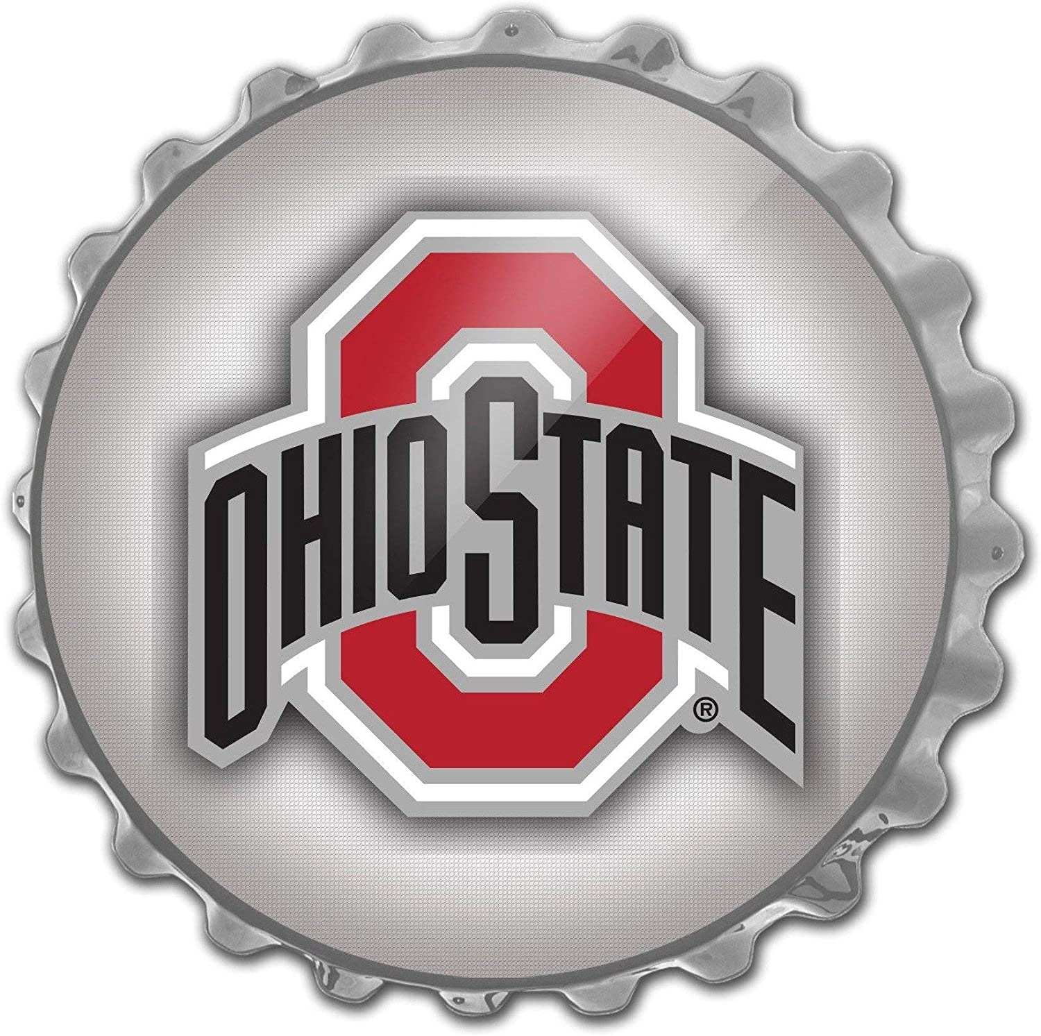 The Fan-Brand Ohio State Buckeyes - Bottle Cap Wall Sign - Large Wall Sign - Football, Basketball & Baseball Wall Decor - College Sports Decor for Home, Game Room, Fan Cave & Garage - USA Made