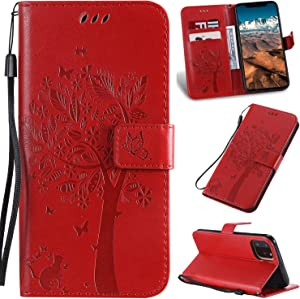 iPhone 11 Case with Screen Protector,iPhone 11 Wallet Case,Flip Case PU Leather Emboss Tree Cat Flowers Folio Magnetic Kickstand Cover Card Slots for iPhone 11 Red