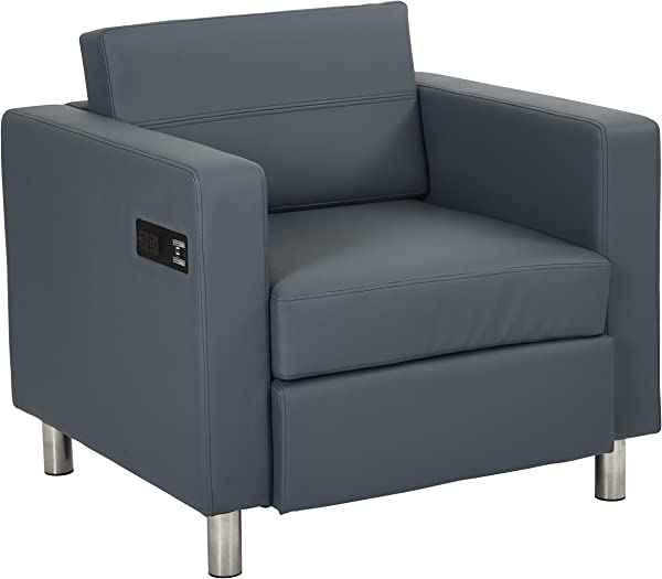 Office Star Atlantic Armchair With Silver Finish Legs And Charging Station Blue Dillon Fabric