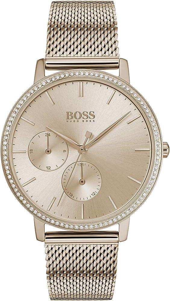 Hugo boss,orologio per donna,in acciaio,con placcatura ionica oro rosso,ghiera con  cristalli swarovski 1502519