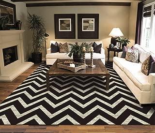 Large Chevron Pattern Rugs For Living Room Black Cream 8x11 Wavy 8x10 Modern Rugs Zig Zag Contemporary Rugs Zik Zak
