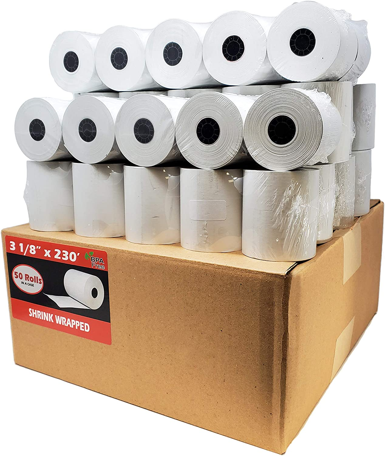 BuyRegisterRolls (50 Rolls - Core) 3 1/8 x 230 (48 GSM Paper Thickness) BPA Free Premium A Grade POS Thermal Receipt Printer Paper : Everything Else