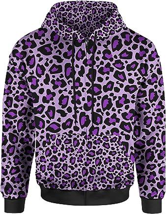 Queen of Cases Bright Leopard Print Men Zip Up Hoodie
