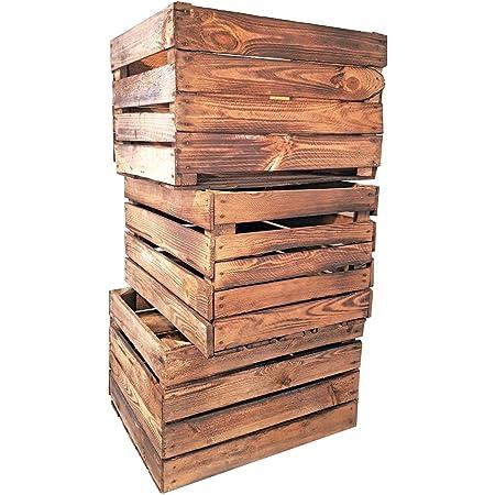 Holzkisten geflammt Obstkisten Apfelkisten Weinkisten Vintage Obststiege 3 Stück
