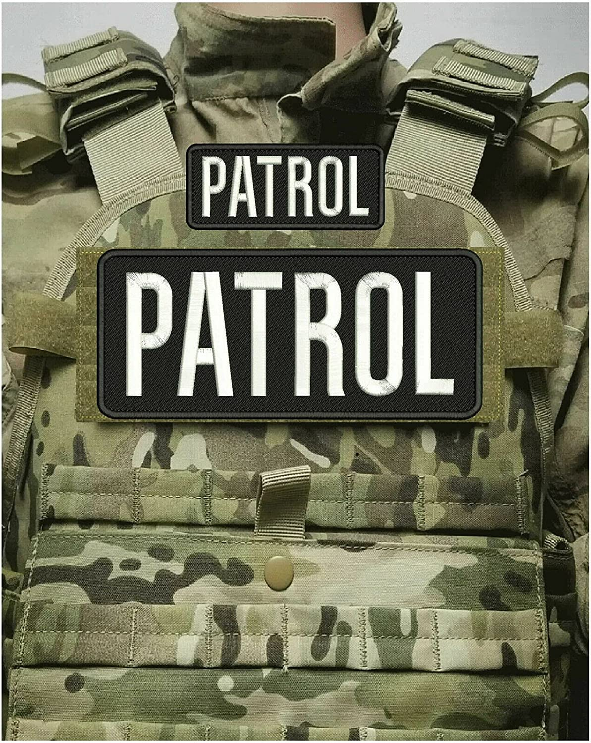 Patrol Embroidery Patch Direct stock discount 4X10 and 2X5 ON Back Super special price Hook BLK White
