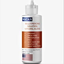 WACAN FAST-HEALING BELLY SALINE SOLUTION FOR PIERCINGS ORGANIC DRUG-FREE PRESERVATIVE-FREE Natural Sea Salts & Clove and V...