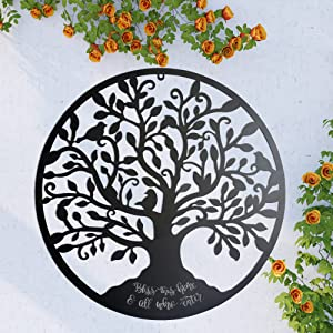 Metal Wall Art Tree of Life - Tree Wall Decoration - Bless This Home and All Who Enter (Black)