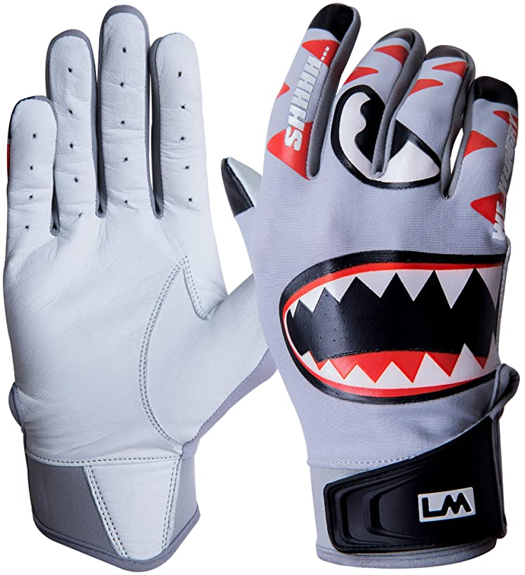 Loudmouth Baseball Batting Gloves - Adult & Youth Sizes | Genuine Pro Grade Leather Palm | Form Fitting Comfortable Spandex Fabric | Adjustable Neoprene Wristband | Adult & Youth Batting Gloves