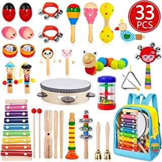 Toddler Musical Instruments, 33 PCS 19 Types Wooden Percussion Instruments Toys for Baby Kids Preschool Education, Early L...